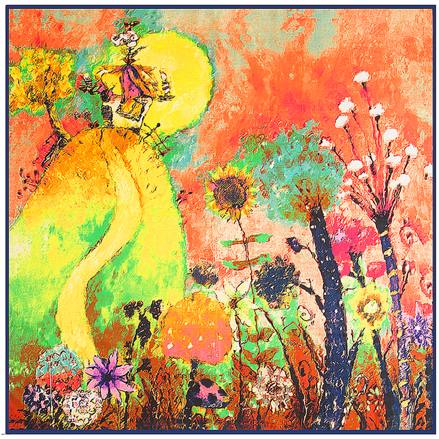 100 cm * 100 cm 100% Sarja De Seda Nacional Vento Pintura A Óleo Da Flor Da Árvore e do Sol Impresso Mulheres Praça Silk lenços Grandes Xales
