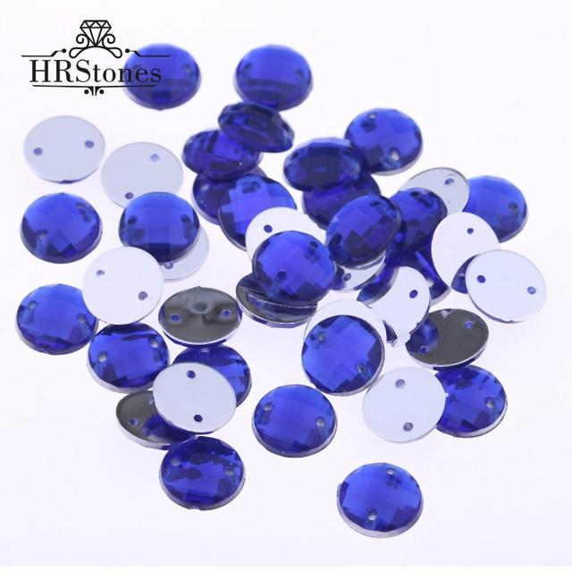 Superior Taiwan Acryl 2 Gaten 6mm 14mm 16mm 18mm 20mm Sapphire Naaien Steentjes Platte Terug Ronde Stenen Voor Jurk decoraties