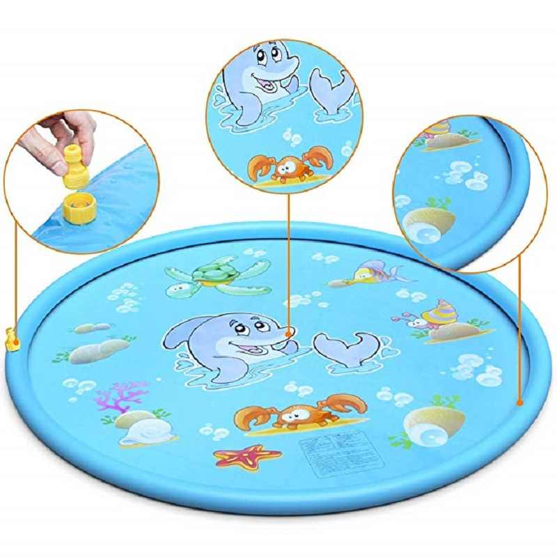 100 CM Summer Children's Baby Play Water Mat Games Beach Pad Lawn Inflatable Spray Water Cushion Toys Outdoor Tub Swiming Pool