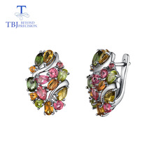 TBJ,Natural Brazil tourmaline clasp earring 925 sterling silver fine jewelry for women wife luxury design anniversary party gift tbj 3ct natural spessartite garnet gemstone luxury ring in 925 sterling silver for lady party as best gift anniversary with box