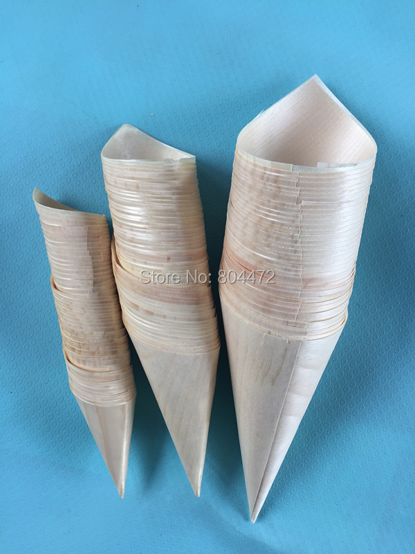Disposable Ice Cream Cone Holders Wooden Cone Small medium Large sizes for your choice