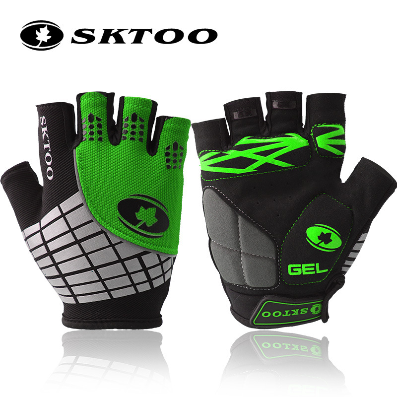 Prix pour SKTOO vélo gants 2017 d'été vtt vélo gants de vélo finger moitié gants gel pad respirant vélo accessoires