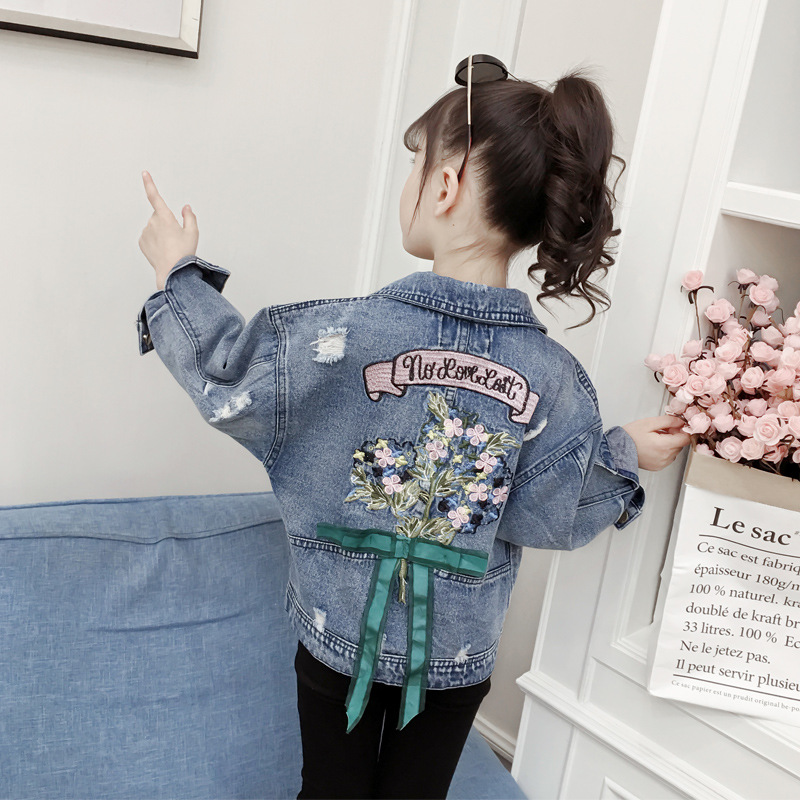 Fashion Kids Jackets for Girls Spring Autumn Baby Denim Jacket Flower Embroidery Outerwear Coats for Teenagers Children Clothing