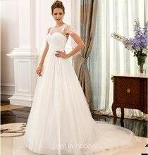 free shipping salomon casamento cap sleeve vestido de festa 2014 fashionable sexy romantic white long wedding dress bridal gown