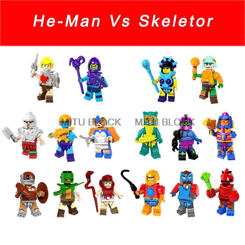 8pcs superhero Ram Man PAKER Ske Letor Sorceress TRI-KLOPS building blocks toys