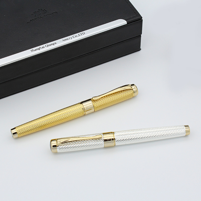 High-end 1PC Golden Clip 0.5mm Fountain Pen or 1.0mm Bent Nib Art Fountain Pen Luxury JINHAO 1200A Metal Ink Pens for Gift hero 310b metal fountain pen