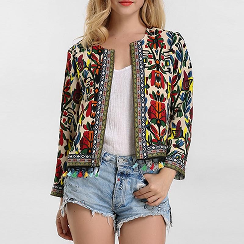 Winter Women Jackets Vintage Floral Print Embroidery Coat 2018 Autumn  Long Sleeve Tassel Cardigan Ladies Outerwear Plus Size