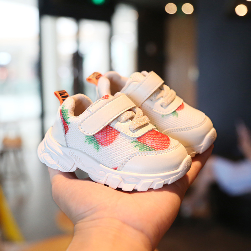 Baby Mesh Fashion Sneakers Strawberry Toddler Shoes Baby Shoes Soft Bottom  Children Casual Shoes