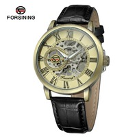 FORSINING China Brand Men S Watch Luxury Mechanical Hand Wind Watch Skeleton Antique Bronze Dial Transparent