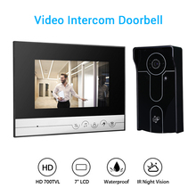 7 700TVL Wired Video Doorbell Door Monitor Security Visual IR Night Vision Outdoor Camera for Home Security Surveillance sunflowervdp wired intercom for private house 2 units 7 home phone 700tvl infrared night vision ccd camera doorphones in stock