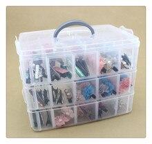 Caja de almacenamiento extraíble de 30 rejillas de 3 capas, caja de almacenamiento cubierta, mallas king, caja de almacenamiento de plástico Lego