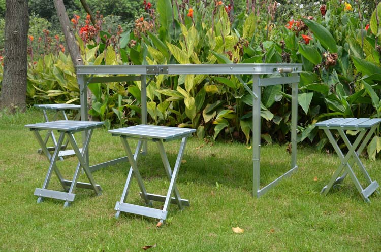 CAMPING Portable en plein air chaises pliantes en aluminium pique-nique tables et chaises ensemble - 4
