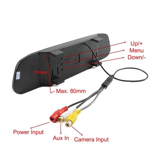 4.3 Pouce LCD De Voiture Moniteur RU Européenne Cadre de Plaque D'immatriculation arrière Vue Caméra IR Lumière nigh vision caméra de recul rétroviseur miroir 4