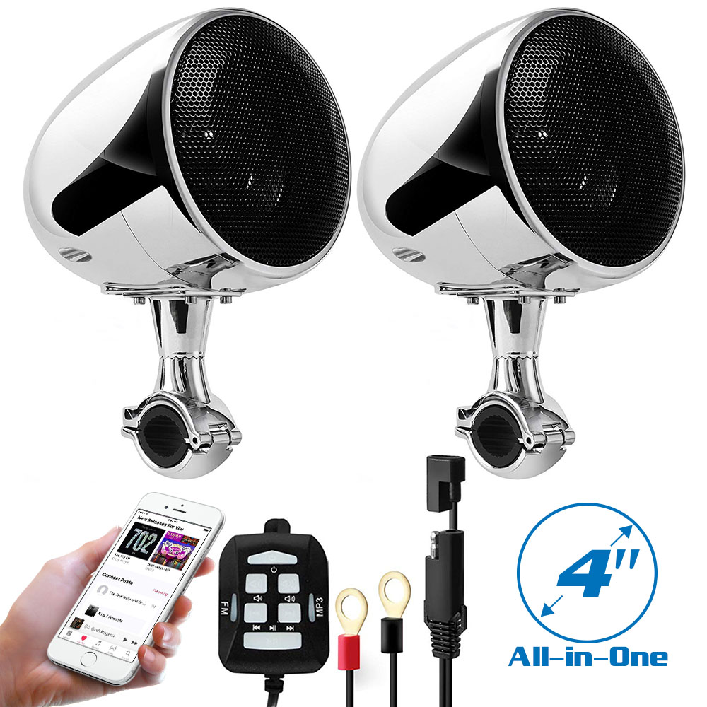 4 Inch Motorcycle Waterproof Wireless Bluetooth Speaker 300W Moto Stereo Audio Player Loudspeaker AUX Wired Remote
