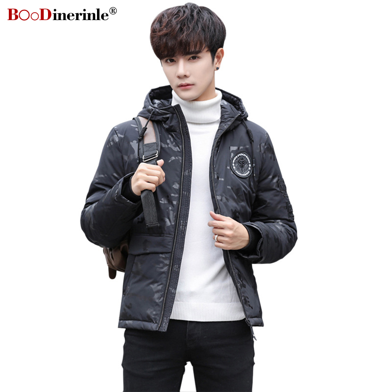 BOoDinerinle 2019 Men's Short   Down   Jackets Oversize Loose Hooded White Duck   Down     Coat   Fashion Winter Warm Basic Outwear YR172
