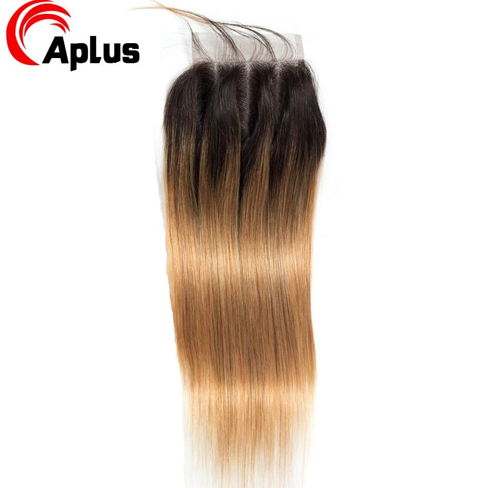 Aplus Hair Peruvian Ombre Bundles With Closure Straight 1B/27 Honey Blonde Bundles With Closure NonRemy Human Hair Weave Closure