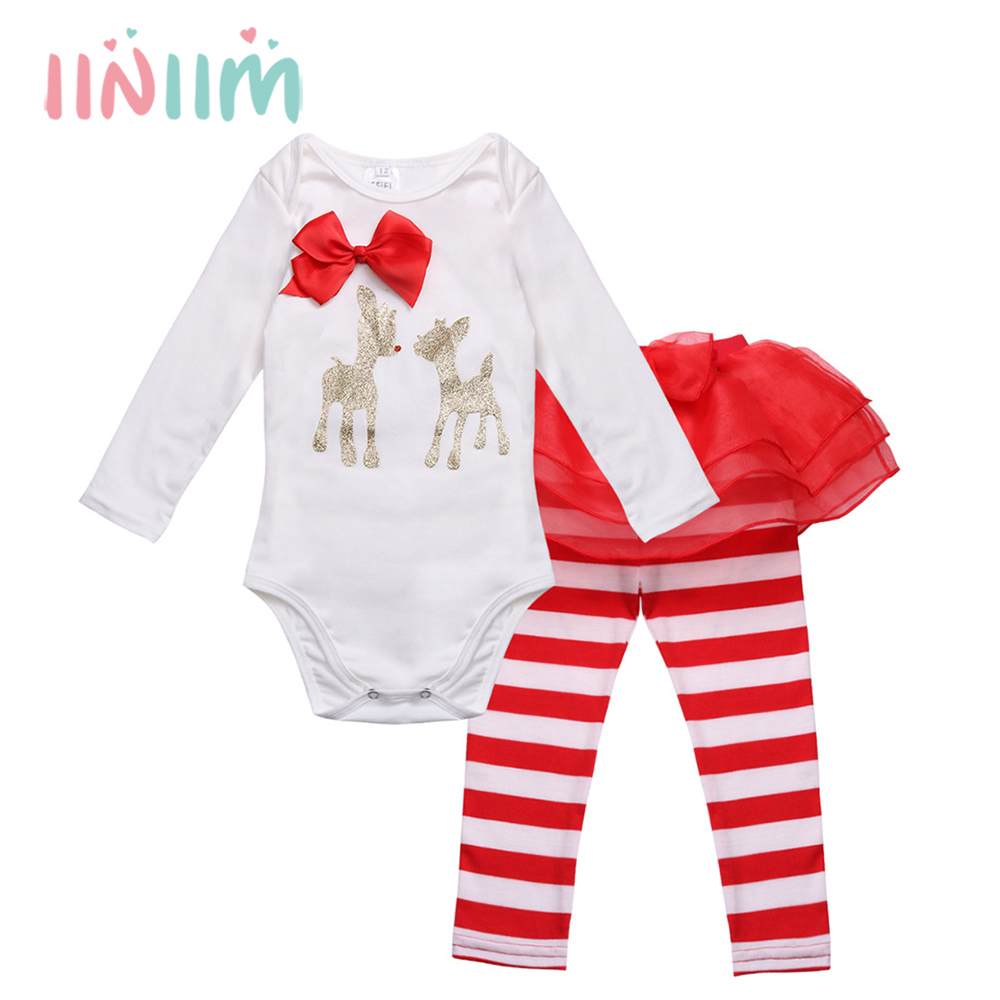 Winter Christmas Clothes for Newborn Infantil Baby Girls Deer Romper with Striped Pants My first Christmas Outfits Costumes Set цена