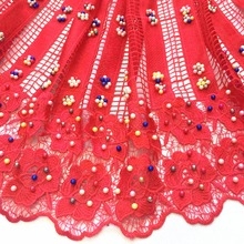 Noble design colorful Beads Embroidered in African guipure lace fabric High Quality Nigerian Lace Fabrics For Wedding W2-391