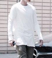 2017 a maniche lunghe T-Shirt colore puro bianco e nero fondazione Europa street style T-Shirt a manica lunga hiphop di Modo Allentato
