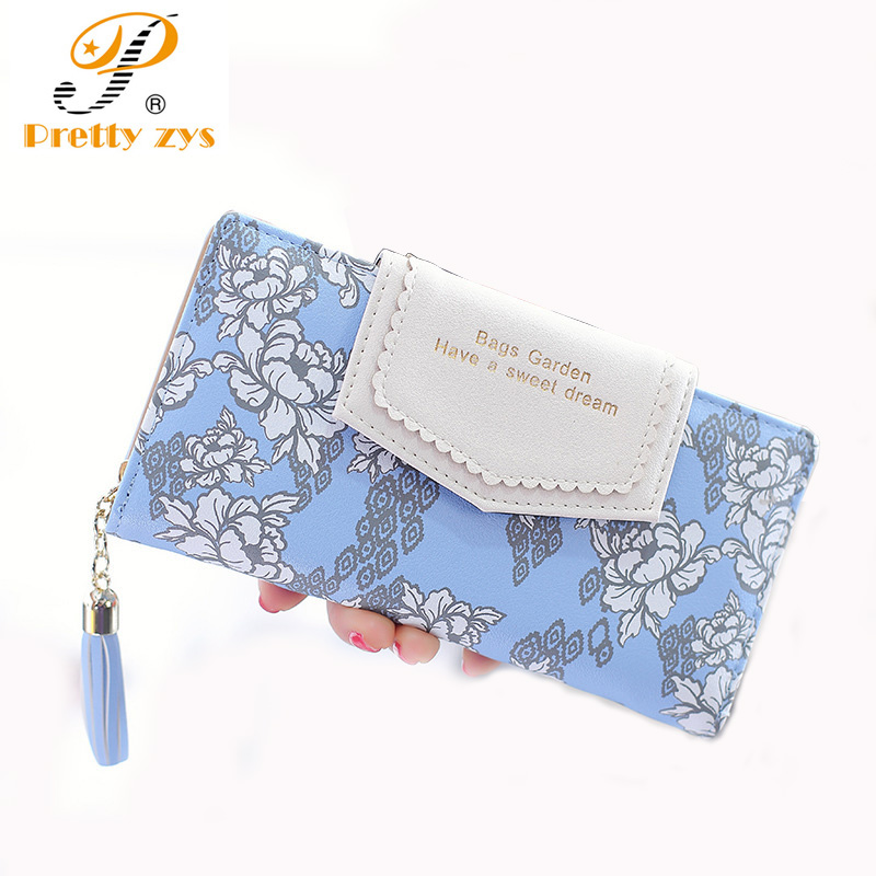 New Women Wallets High Quality PU Fashion Lady Floral Long Purse Zipper Large Capacity Womens Clutch Bag Designer Wallet large capacity clutch purse female card bags new women long star wallet fashion banquet zipper pu leather wallets