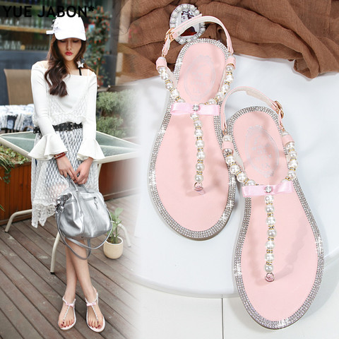 Women sandals 2018 new summer shoes flat pearl sandals comfortable string bead beach slippers casual sandals pink white black Karachi