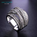MECHOSEN Hot Sale Luxury Zircon Rings For Women Men Engagement Female Gold Plated Multilayer Zirconia CZ Diamond Jewelry anillo