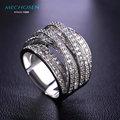 Mechosen venda hot luxury zircon anéis para as mulheres homens de noivado feminino banhado a ouro multilayer zirconia cz diamond jewelry anillo