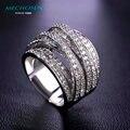 Mechosen venta caliente de lujo circón anillos para las mujeres de los hombres de compromiso mujer oro de múltiples capas plateado zirconia diamante de la cz anillo de la joyería