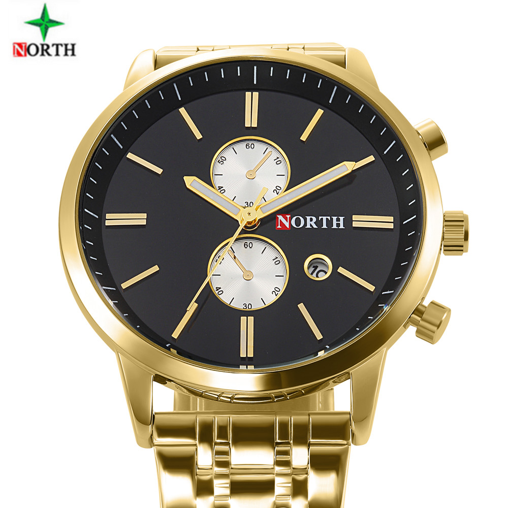 NORTH Mens Watches Top Brand Luxury Unique Design Luminous Stainless Steel Military Spor ...