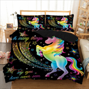 Image 5 - LOVINSUNSHINE zestaw pościeli dla dzieci pojedyncze pościel i zestawy pościeli tekstylia domowe jednorożec Cartoon piękny zestaw poszewek dla dzieci AB #98