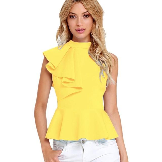Preto branco amarelo top verão 2016 nova elegante assimétrico side ruffle peplum regatas sexy femme estilo europeu roupas S25845