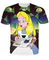Женщины 3d мультфильм майка Четко Алиса в Hipsterland Футболки смешно чудес девушка алиса летом футболку яркие футболки
