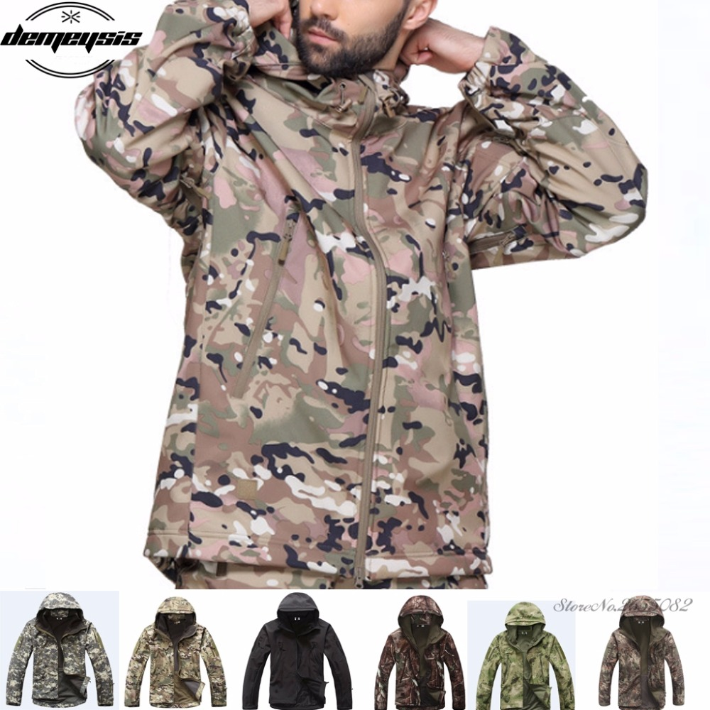 Military Jacket Men Softshell Waterpoof Camo Clothes Tactical Camouflage Army Hoody Jacket Male Winter Coat mens camo field jacket