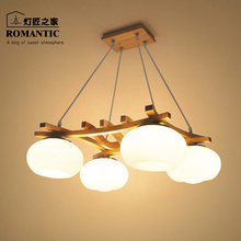 A1 The Nordic minimalist modern Chinese Korean creative dining room chandelier bar bedroom garden original wooden lamps
