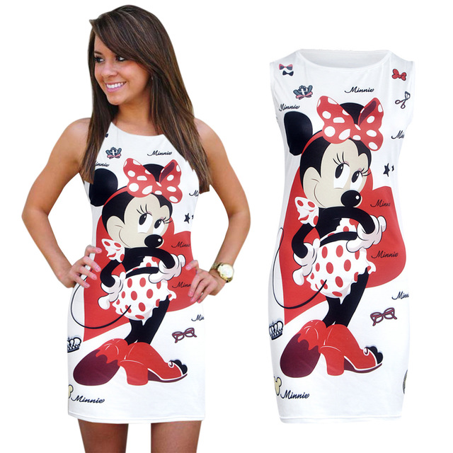 Bon Summer Dress 2017 Mickey Minnie Mousewomen Summer Cartoon Mini Party  DressPrint Cute Sleeveless Fashion O