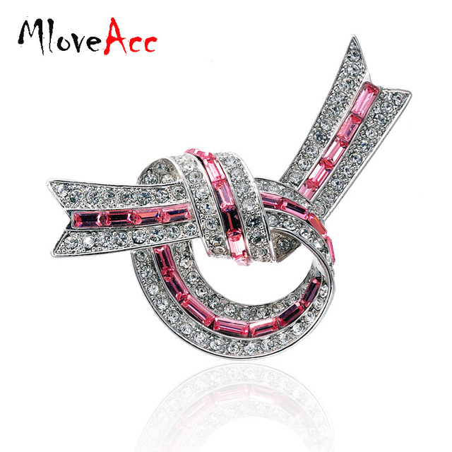 MloveAcc High Quality Vintage Style Full Rhinestones Cute Bow Brooch Wedding Accessories Scarf Buckle Exquisite Crystal Brooches