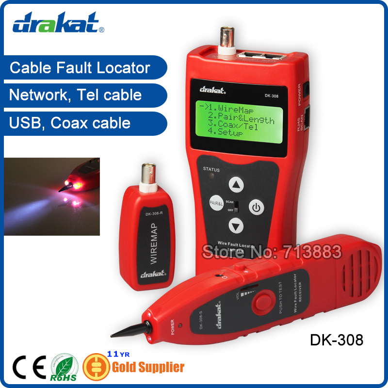 DK-308 Nouveau Lan Tél USB Coaxial Câble Testeur et Traceur de Câble