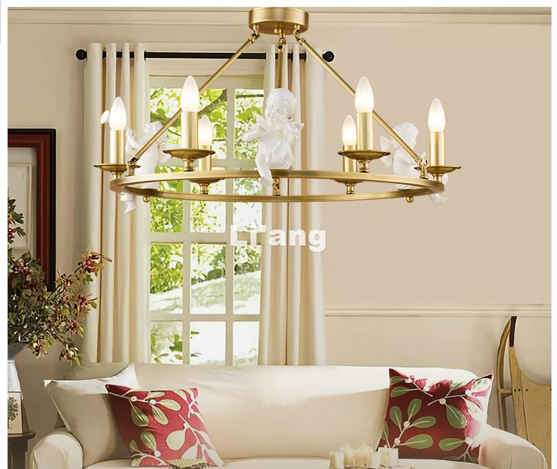 Free Shipping Nordic Angel Modern Light Pendant Lamp Brass Pendant  Vintage Lamp E14 LED AC Bronze Pendant For Bedroom Lighting