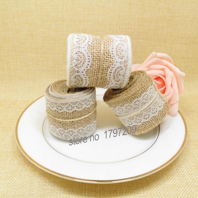4pcs/lot 3style Jute Burlap Hessian Ribbon with write Lace DIY craft ...