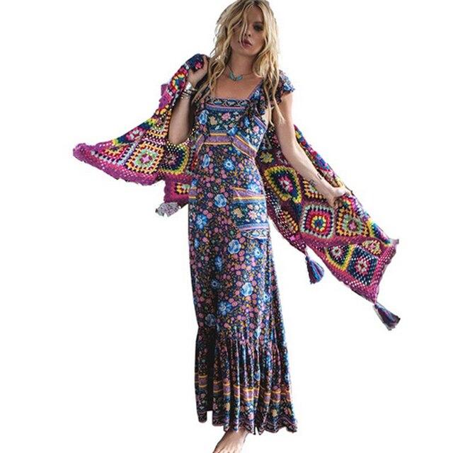 0c78eb1750a3 women dress summer 2017 long maxi dresses floral print cotton sexy robe  backless boho hippie chic vestidos brand clothing