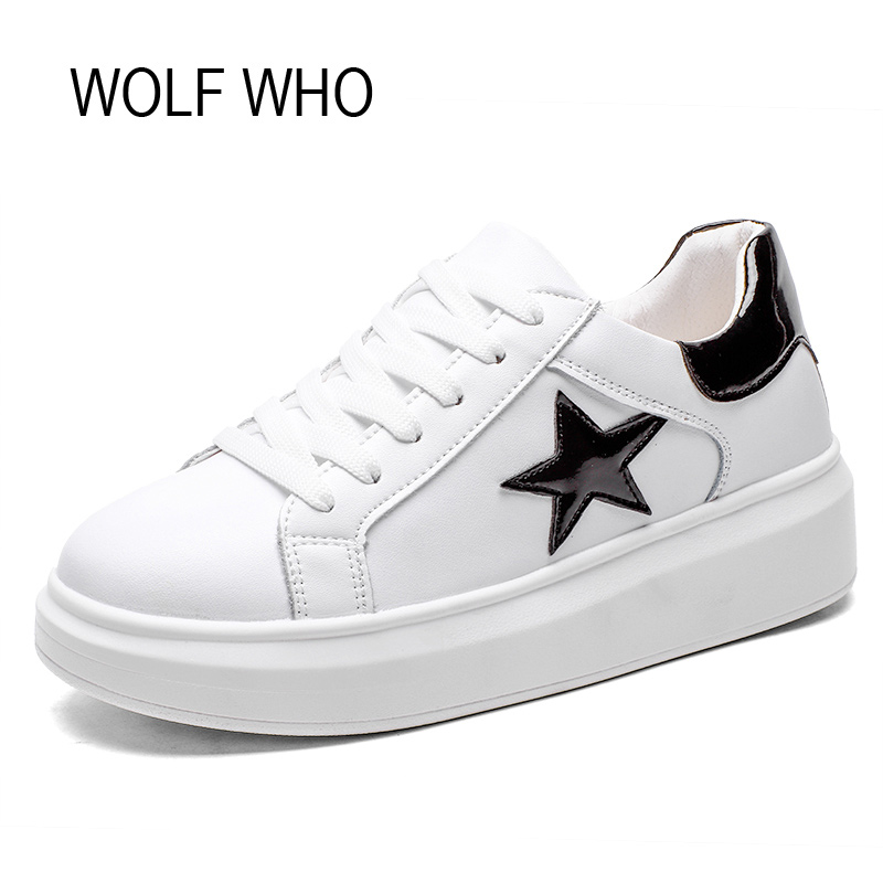 WOLF WHO Female White Fashion Sneakers Women Superstar Shoes Platform Ladies Leather Basket Femme Tenis Feminino Casual H-150 shoes men leather 2017 ms casual shoes low help white black flat leisure fashion female superstar shoes tenis feminino mujer