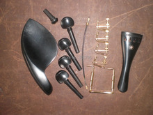 3 Sets Ebony Violin Parts 4/4 with Brand New Gold Fine tuner and tail gut and clamp