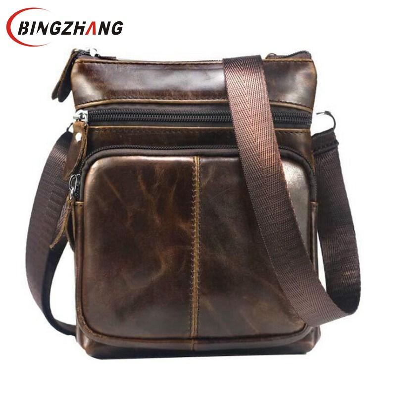 2018 Genuine Leather men bags male cowhide flap bag Shoulder Crossbody bags Handbags Messenger small men Leather bag L8-34 new style alligator genuine leather small messenger bags for men crossbody bag cowhide men single shoulder bag male handbags