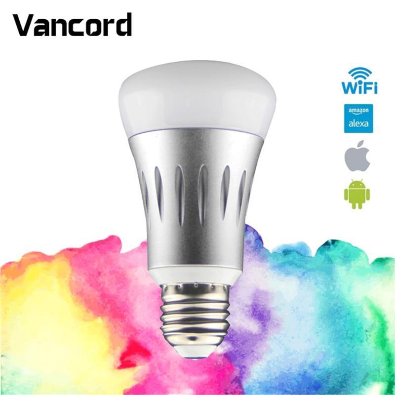 smart remote control wifi smart bulb work with echo alexa googlehome rgb e26 e27 home automation. Black Bedroom Furniture Sets. Home Design Ideas