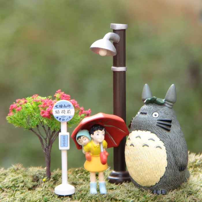 Ghibli My Neighbor Totoro Umbrella Set Model PVC Action Figure Mei Doll Toy Gnome Terrarium Figurines Mini Garden Landscape Gift