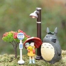 Ghibli My Neighbor Totoro Umbrella Set Model PVC Action Figure Mei Doll Toy Gnome Terrarium Figurines Mini Garden Landscape Gift стоимость