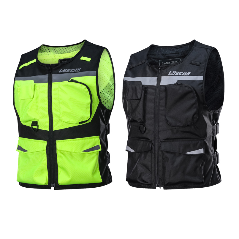 LYSCHY Reflective Waistcoat Clothing Waterproof Motocross Off Road Racing Vest Motorcycle Touring Night Riding Jacket Veste