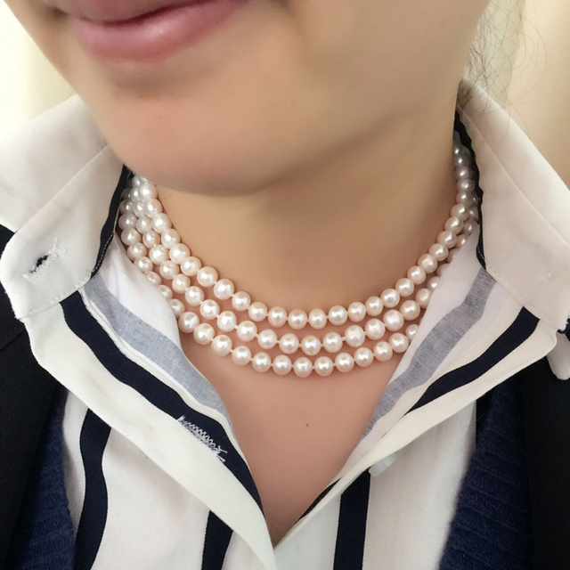 3 rows wedding natural freshwater pearl necklace women,multilayer mother birthda