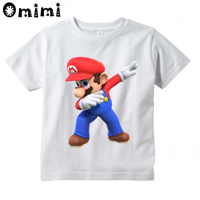 Children Dabbing Super Mario Cartoon Design Tops Boys and Girls Game Casual T Shirt Kids T-Shirt