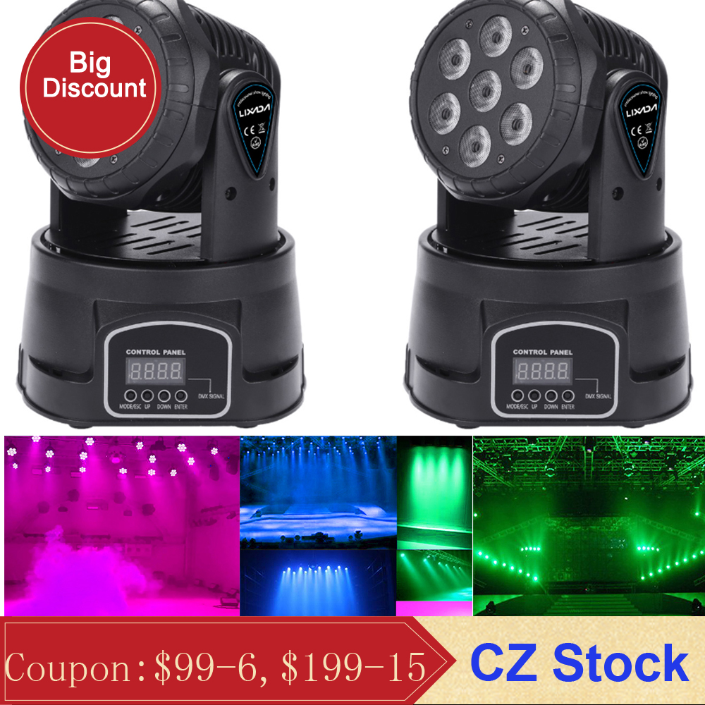 7LED 105W RGBW 9/14 Channel DMX512 Mini Rotating Head Moving Stage Light Effect Lamp Dj Light for Indoor Disco KTV Club Party tech 2 scanner for sale